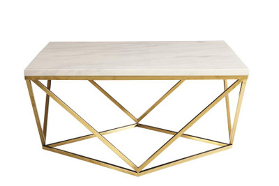 Coaster Leon Marble Top Table In White Dealbeds Com
