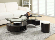 Coaster Serpente Coffee Table and Stool in Cappuccino