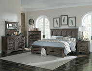 Homelegance Toulon Collection 4 Piece Bedroom Set in Distressed Dark Oak
