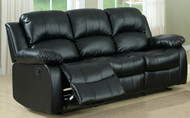 Homelegance Cranley Reclining Black Leather Sofa open