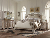 Homelegance Orleans II Collection Poster Bed in White Wash