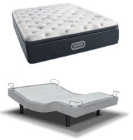 Simmons Beautyrest Silver Plush Pillow Top Mattress with Reverie 5D Adjustable Base Set