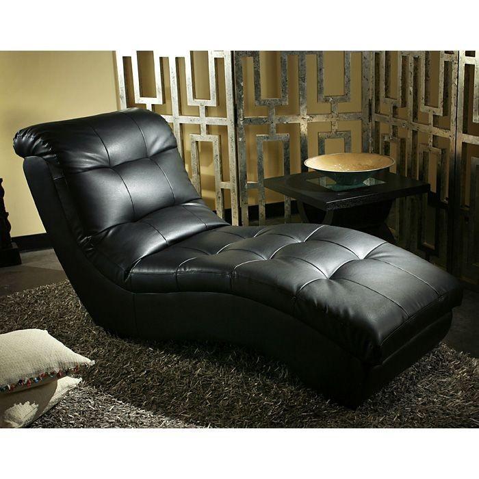 Diamond sofa metro chaise lounge in black for Black chaise lounge sofa