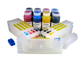 Refillable Cartridge Kit for Epson Pro 4800 with 8 x 500 ml bottles of Cave Paint Elite Enhanced pigment inks - includes Photo Black ink and cartridge