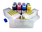 Refillable Cartridge Kit for Epson Pro 7880/9880 with 8 x 500 ml bottles of Cave Paint Elite Enhanced pigment inks - includes Photo Black ink and cartridge