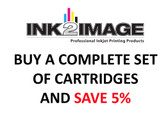Set of 5 x 130 ml PFI-102/104 compatible cartridges for the Canon imagePROGRAF iPF650, iPF655, iPF750, and iPF755 filled with Absolute Match V3 inks