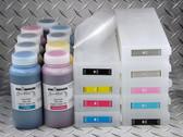 Refillable Cartridge Kit for Epson SureColor P6000, P7000, P8000, P9000 with 9 x 500 ml bottles of Cave Paint Elite HD pigment inks