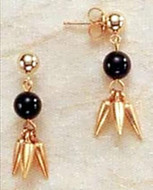 Lotus Petal & Black Onyx Earrings - Egyptian - Photo Museum Store Company