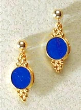 Roman Lapis Earrings, vermeil - Roman, from the collection of The Walters Art Museum - Photo Museum Store Company