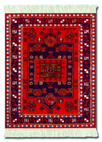 Agra Kazak: Red Group - Turkish / Indian Miniature Rug & Mouse Pad - Photo Museum Store Company