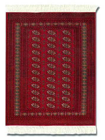Turkoman Bokhara: Red Group - Turkish / Indian Miniature Rug & Mouse Pad - Photo Museum Store Company