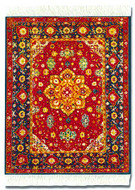 Red Silk Medallion Rug Miniature Rug & Mouse Pad: Red Group - Persian - Photo Museum Store Company