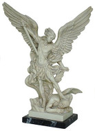Large Archangel Michael slaying the devil on marble base - Church of Santa Maria Della Concezion - Photo Museum Store Co