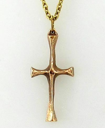 Bronze Cross Pendant on Gold Chain - Photo Museum Store Company