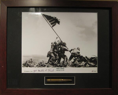 Iwo Jima Flag Raising - Autographed and Signed by Mahlon Fink, with Artifact, Relic - Photo Museum Store Company