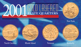 Collector's 2001 Gold-Layered State Quarters - Actual Authentic Collectable - Photo Museum Store Company