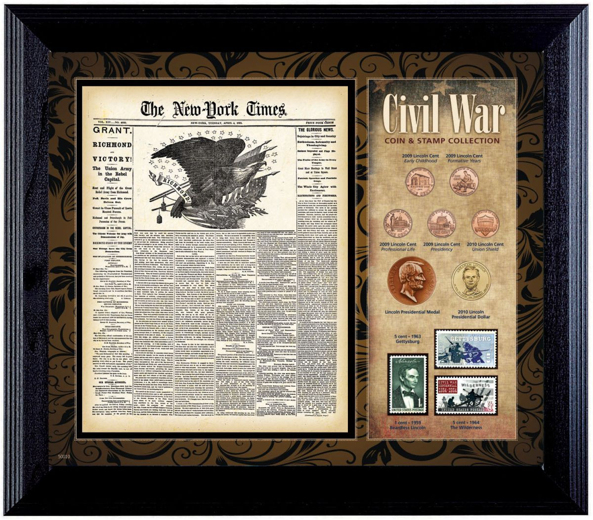 Collectors New York Times Civil War Coin Stamp Collection Framed
