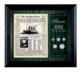 Collector's New York Times Titanic 1912 U.S. Mint Coin Collection Framed - 5 Coins - Actual Authentic Collectable - Phot