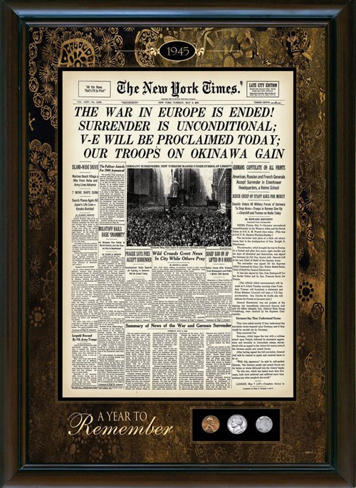 Collector's New York Times Framed Front Page with U.S. Mint Coins - Actual Authentic Collectable - Photo Museum Store Co