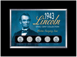 Collector's 1943 Lincoln Steel Penny Collection Wartime Emergency Issue in Small Frame - Actual Authentic Collectable -