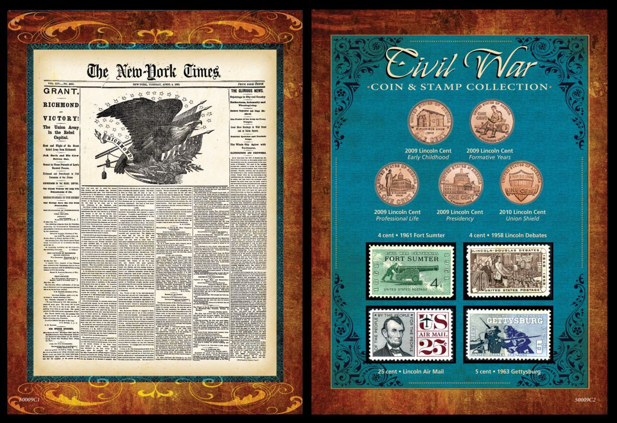 Collectors New York Times Civil War Coin Stamp Collection