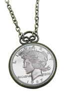 Collector's 1927 Peace Dollar Replica Antique Silvertone Coin Pendant Coin Jewelry - Replica Coin - Photo Museum Store C