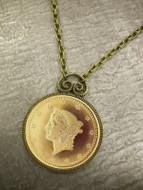 Collector's $1 Type 1 Liberty Head Dollar Gold Piece Replica Coin in Antique Goldtone Pendant Coin Jewelry - Replica Coi
