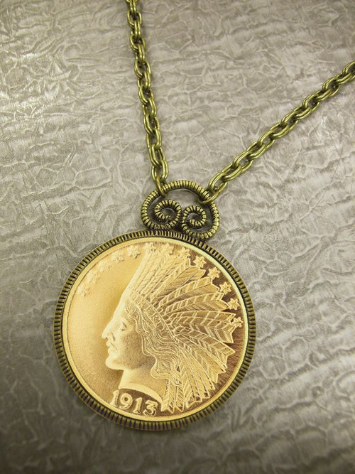 10 Indian Head Eagle Gold Piece Replica Coin in Antique Goldtone