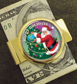 Collector's Goldtone Moneyclip with Colorized JFK Half Dollar Santa Coin - Actual Authentic Collectable - Photo Museum S