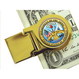 Collector's Goldtone Moneyclip with Colorized Army Washington Quarter - Actual Authentic Collectable - Photo Museum Stor