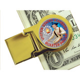 Collector's Goldtone Moneyclip with Colorized Washington Bicentennial Quarter - Actual Authentic Collectable - Photo Mus