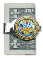 Collector's Silver-Toned Moneyclip W/Colorized Army JFK Half Dollar - Actual Authentic Collectable - Photo Museum Store