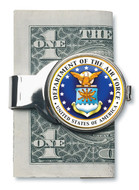 Collector's Silver-Toned Moneyclip W/Colorized Air Force JFK Half Dollar - Actual Authentic Collectable - Photo Museum S