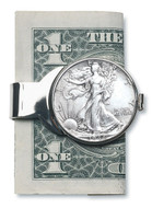 Collector's Silver Walking Liberty Half Dollar Money Clip - Actual Authentic Collectable - Photo Museum Store Company