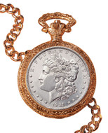 Collector's 1921 Morgan Silver Dollar Goldtone Coin Pocket Watch Coin Jewelry - Actual Authentic Collectable - Photo Mus