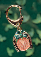 Collector's Horseshoe Lotto Scratcher Coin Keychain with Irish Penny and Emerald Coin Jewelry - Actual Authentic Collect