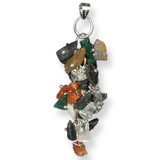 Multiple Gem Stone Cluster on Silver Chaing - Photo Museum Store Company
