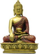 Sakyamuni Buddha, Earth Touching Pose, Gold and Red - Photo Museum Store Company