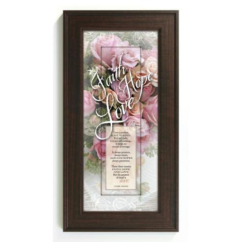 Faith Hope Love Framed Print Wall Art Inspirational