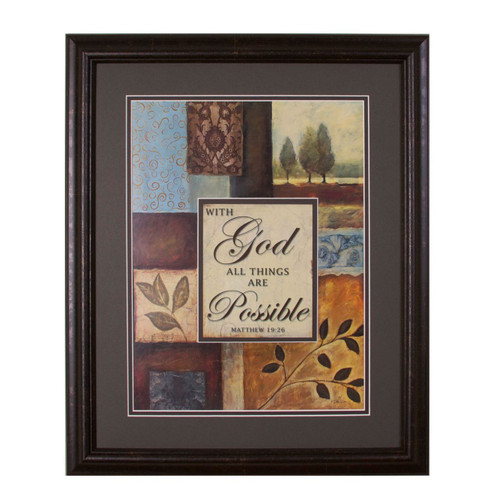 With God Framed & Double Matted Wall Art | Inspirational ...