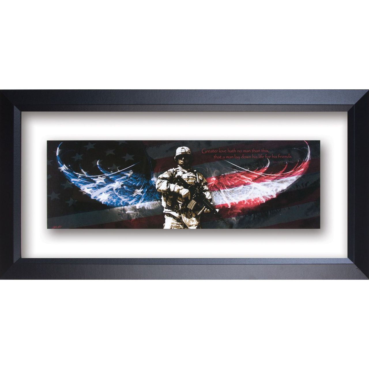 Superb Soldier No Greater Love Double Glass Matted   Framed Print / Wall Art    Photo