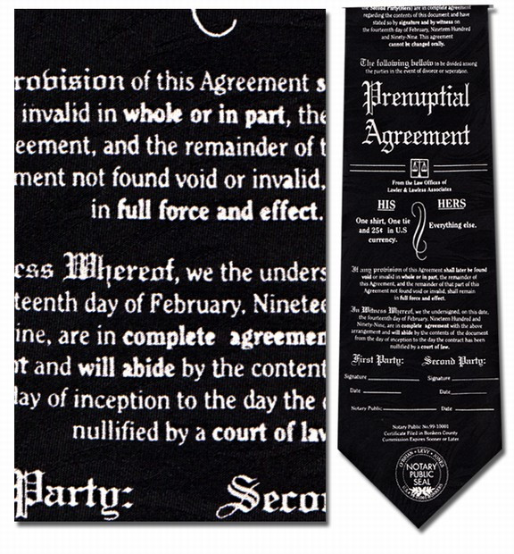 Prenuptial Agreement Lawyer Necktie Museum Shop Tie History Gift