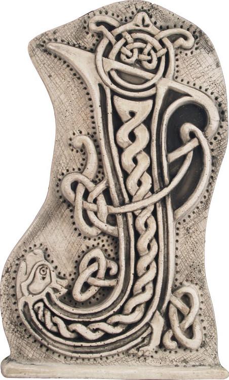 Manuscript Letter J Illuminated Ancient Ornate Irish