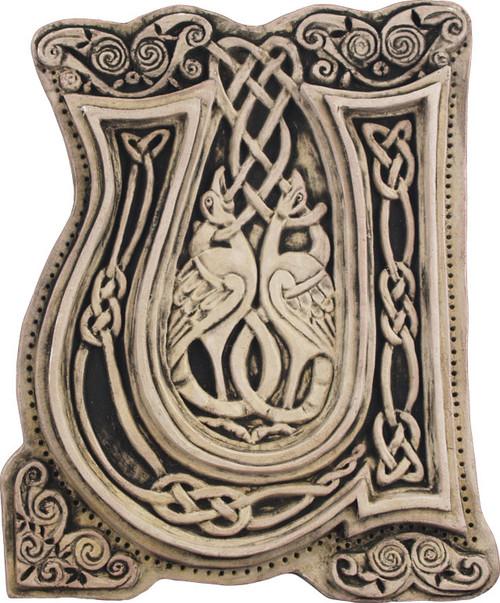 Manuscript Letter U Illuminated Ancient Ornate Irish