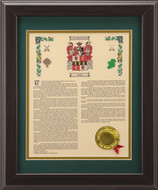 Personalized Coat of Arms with Family History - 11x14 Walnut Frame - Heraldry - Museum Store Company Photo