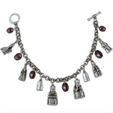 Lewis Chessmen Charm Bracelet, with garnet - Museum Shop Collection - Museum Company Photo