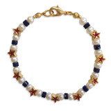 Red Star & Pearl Bracelet with lapis - Museum Shop Collection - Museum Company Photo