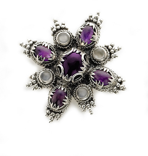 Carolingian Nine Stone Brooch, silver finish - Museum Shop Collection - Museum Company Photo