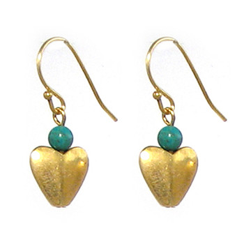 Bactrian Heart Earrings with Turquoise - Museum Shop Collection - Museum Company Photo