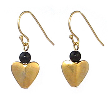 Bactrian Heart Earrings with Onyx - Museum Shop Collection - Museum Company Photo